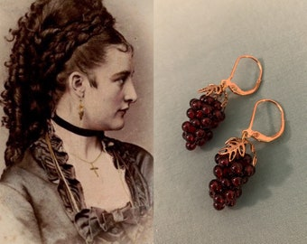 Premium Garnet GRAPE Earrings by Lady Detalle historic Reproduction Victorian real Garnet Grapes Sterling Silver 925 or Vermeil Gold Jewelry