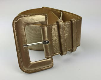 Vintage belt women from the 1990's, Gold belt, Faux leather belt, Waist belt, Gold elastic belt, Gold belt with rubber, Elastic Waist Belt.