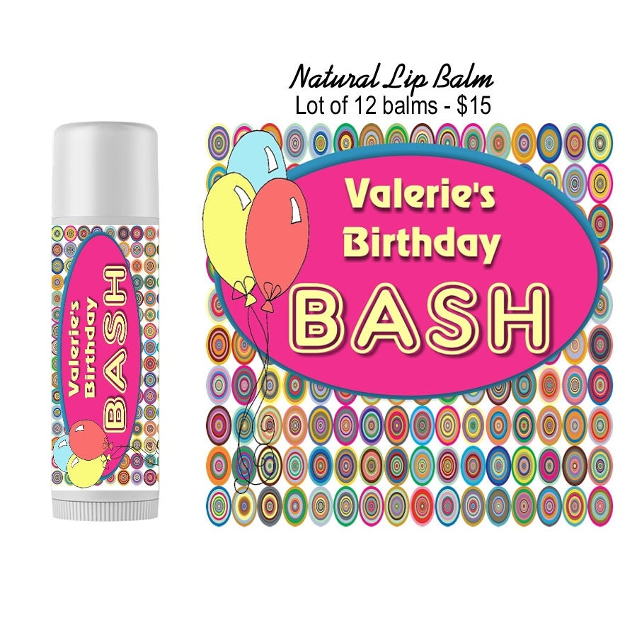 Personalized Lip Balm Party Favors/ Set of 12 /Custom Wedding