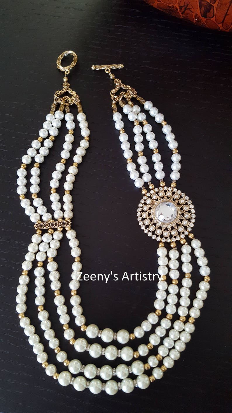 Turkish antique gold Necklace pearl and zircon stranded necklace