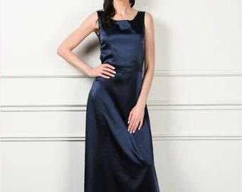 b083367623da Navy Blue Satin Maxi Dress/ A-Line Dress Scoop Neckline Waistband  Sleeveless/ Satin Prom Bridesmaid Party dress