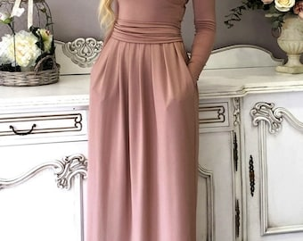 ef7255690a Maxi Dress Round Neck   Long Sleeves Pockets Sash Plain Cappuccino-  Brownish Long Dress