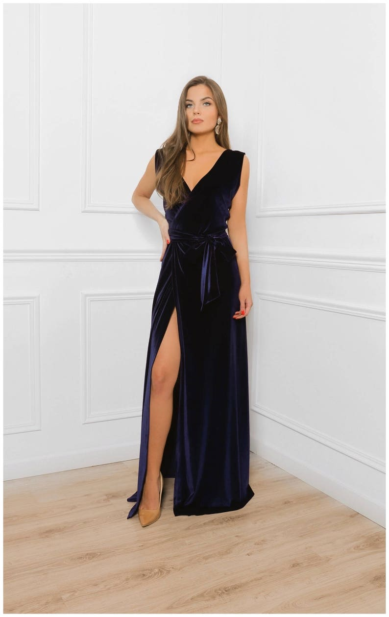 b5c24f0f54208 Navy Blue Velvet Bridesmaid A- Line Maxi Dress/ Wrap Neck Deep Open Back  High Slit Sleeveless / Waistband Sash Party Dress