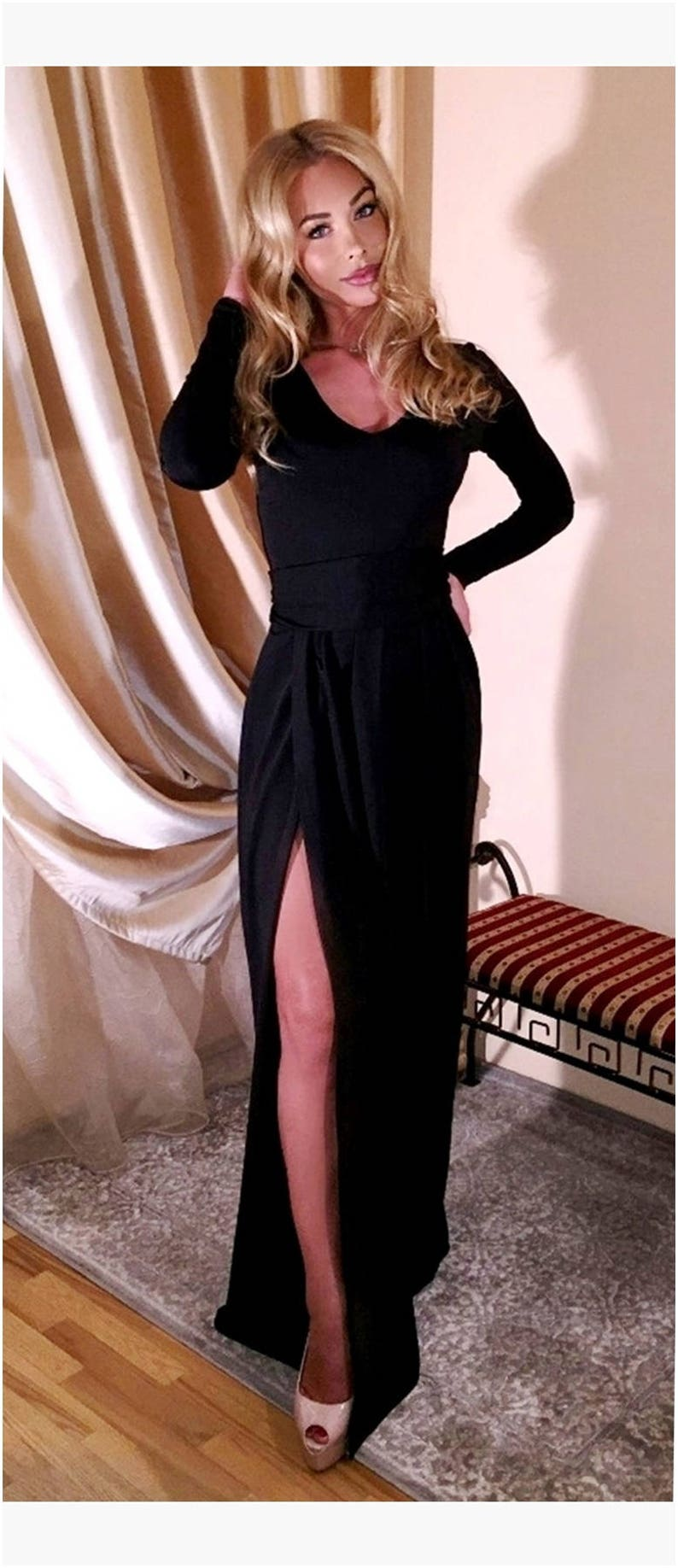 8e3a4ddff5d Black Maxi Dress V-Neck High Slit Long Sleeves Sash