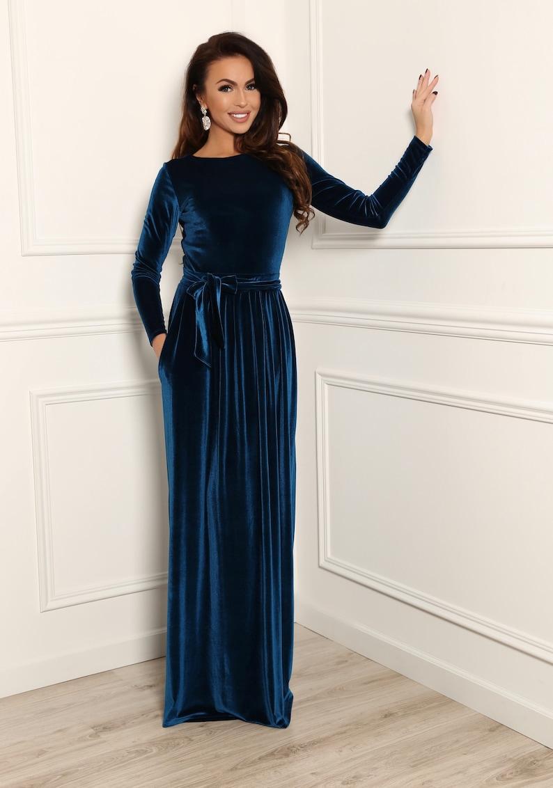 Dark Teal Velvet Maxi Dress Round Neckline Closed Back Long image 0