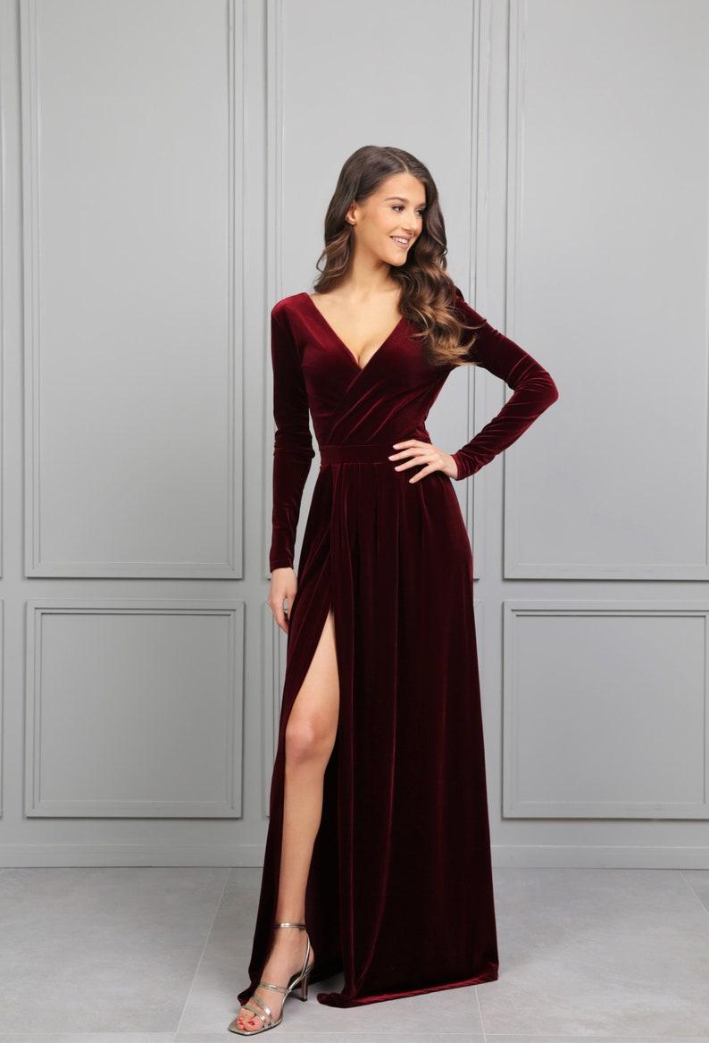 Dark Burgundy Velvet Maxi Dress/ Wrap Neckline Deep V Back image 2