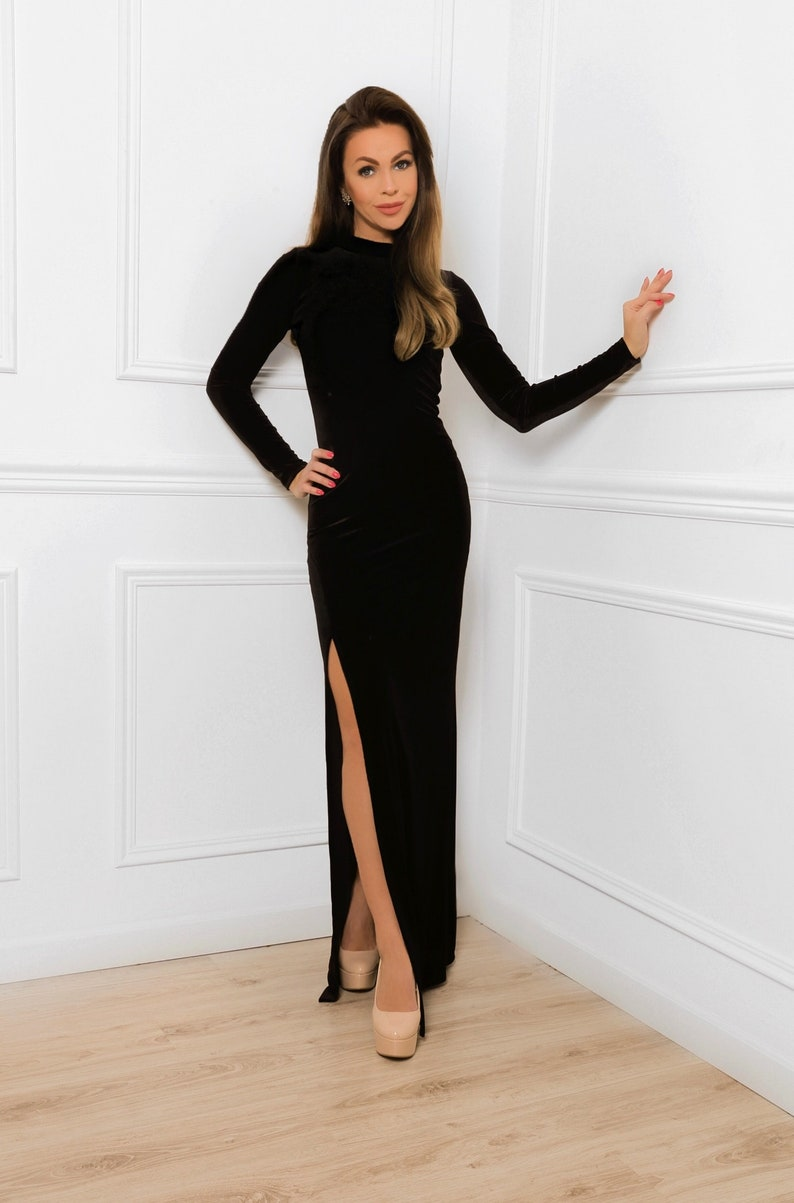 6f43ec3cc6a Black Velvet Maxi Bodycon Dress/ With High Neck Long Sleeves Side Slit