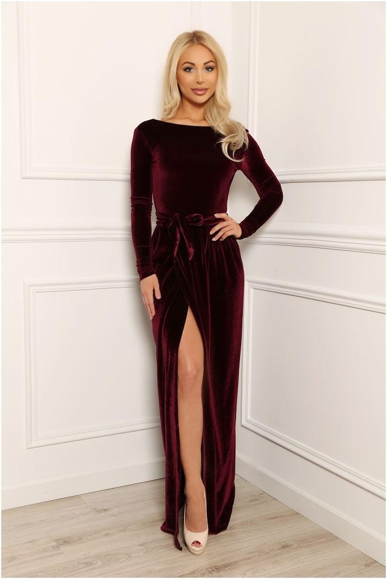 Velvet Maxi Dress/ Round Neck Deep V Back Long Sleeves/ With image 0