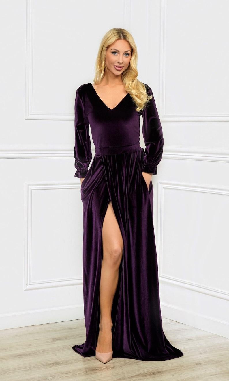 Plum Velvet Maxi Dress/ V Neck V Back Long Balloon Sleeves/ image 0