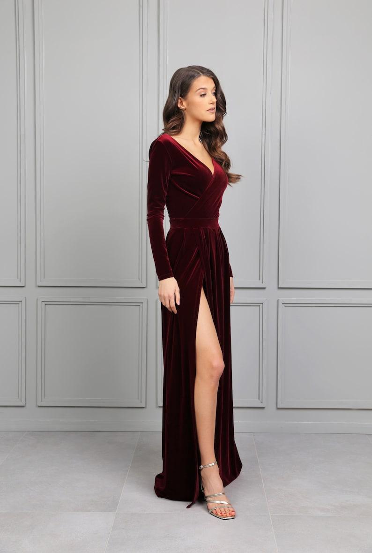 Dark Burgundy Velvet Maxi Dress/ Wrap Neckline Deep V Back image 0