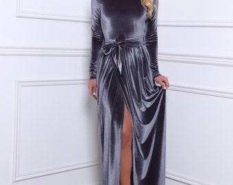 Grey Velvet Bridesmaid Party Dress/ Round Neck High Slit Long Sleeves Full Length Dress/ Waistband Sash Grey