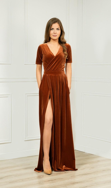 Rusty Orange Velvet Maxi Dress/ Wrap Neckline Closed Back image 0