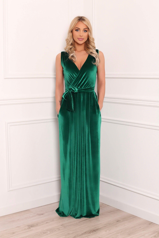 Grün samt Maxi-Kleid / Party Wrap Ausschnitt Abendkleid ...