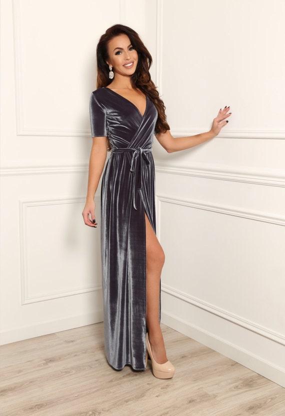 Bridesmaid Velvet Maxi Grey Dress Wrap Neckline Short