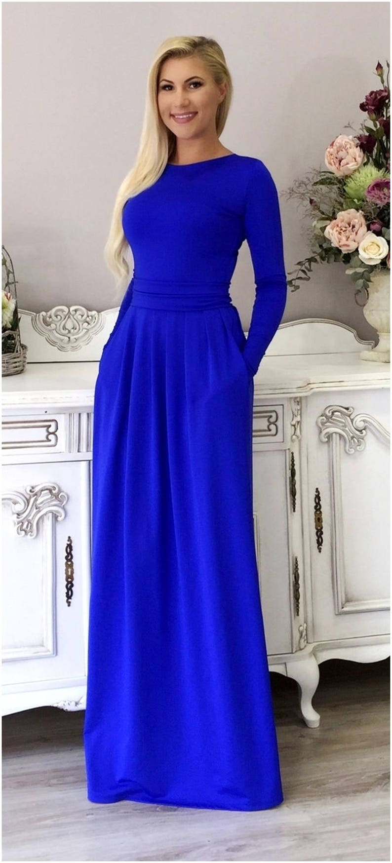 3ea5ef43a33b Royal Blue Maxi Dress With Long Sleeves Pockets Sash