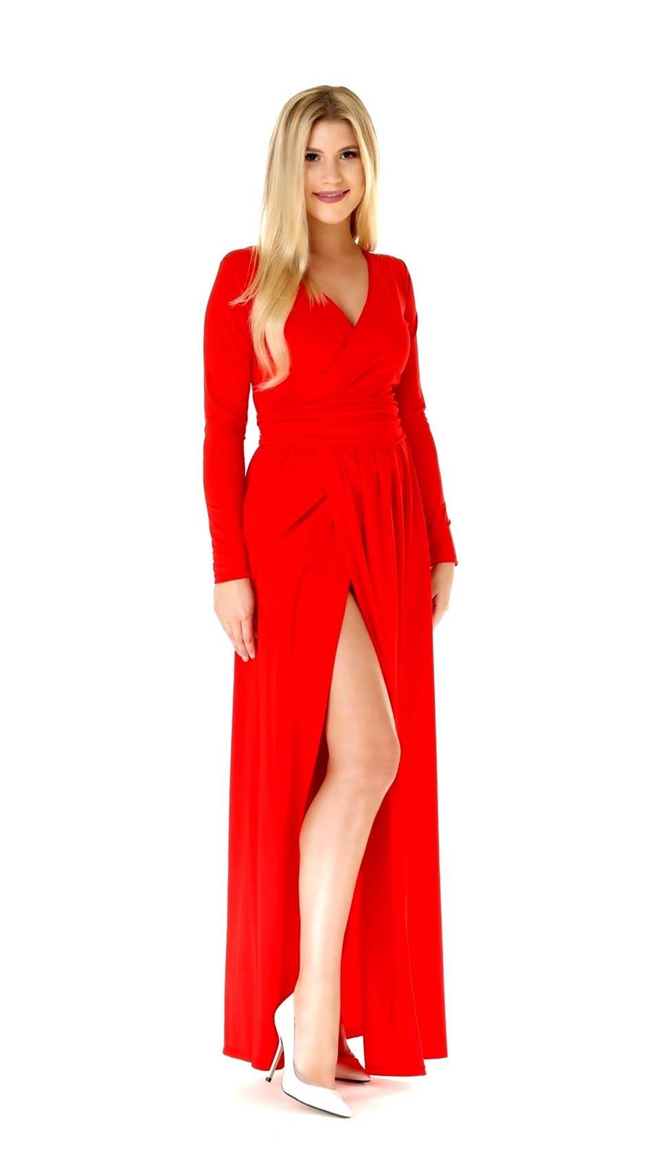 Maxi Kleid rot / wickeln Ausschnitt hohen Schlitz lange ...