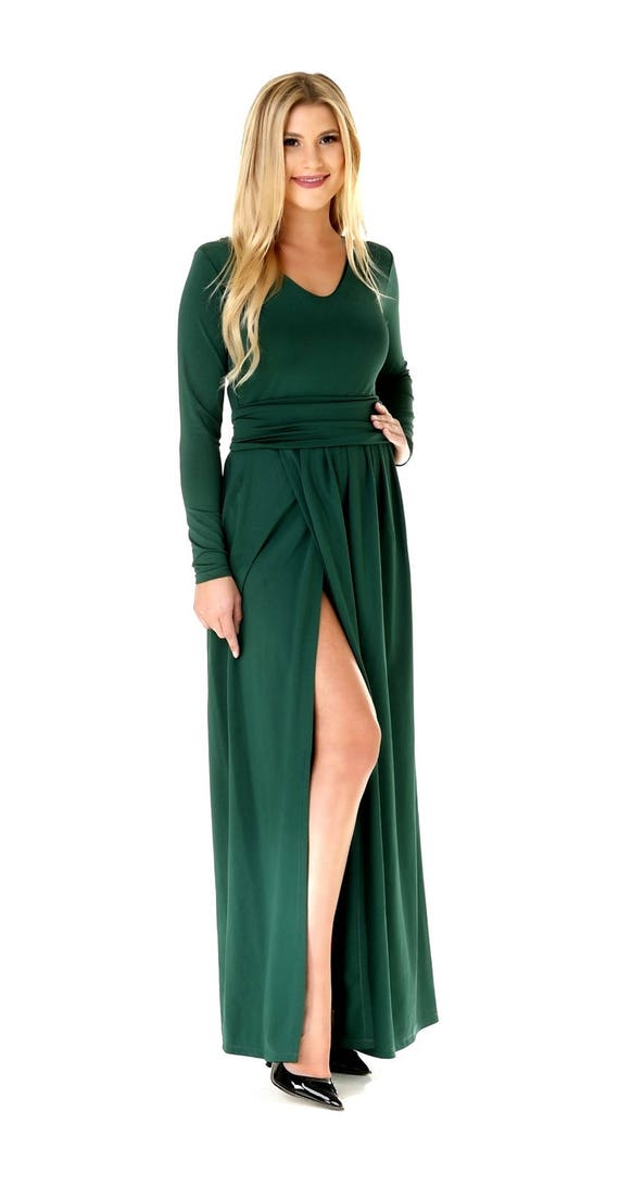 aeaff129d3c0 Dark Green Maxi Dress  V-Neck High Slit Long Sleeves Sash