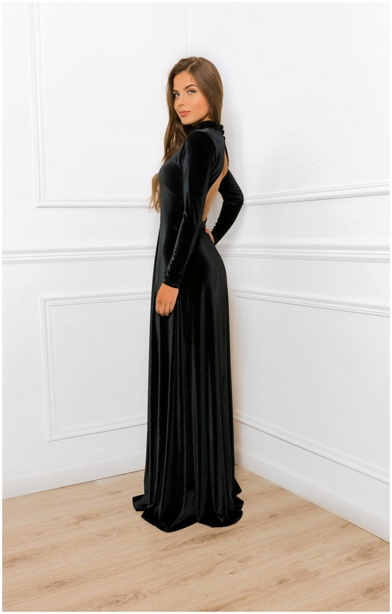 a1f988dfe88 Keyhole Back Velvet A- Line Maxi Dress / With Turtleneck Long Sleeve/  Bridesmaid Party Dress