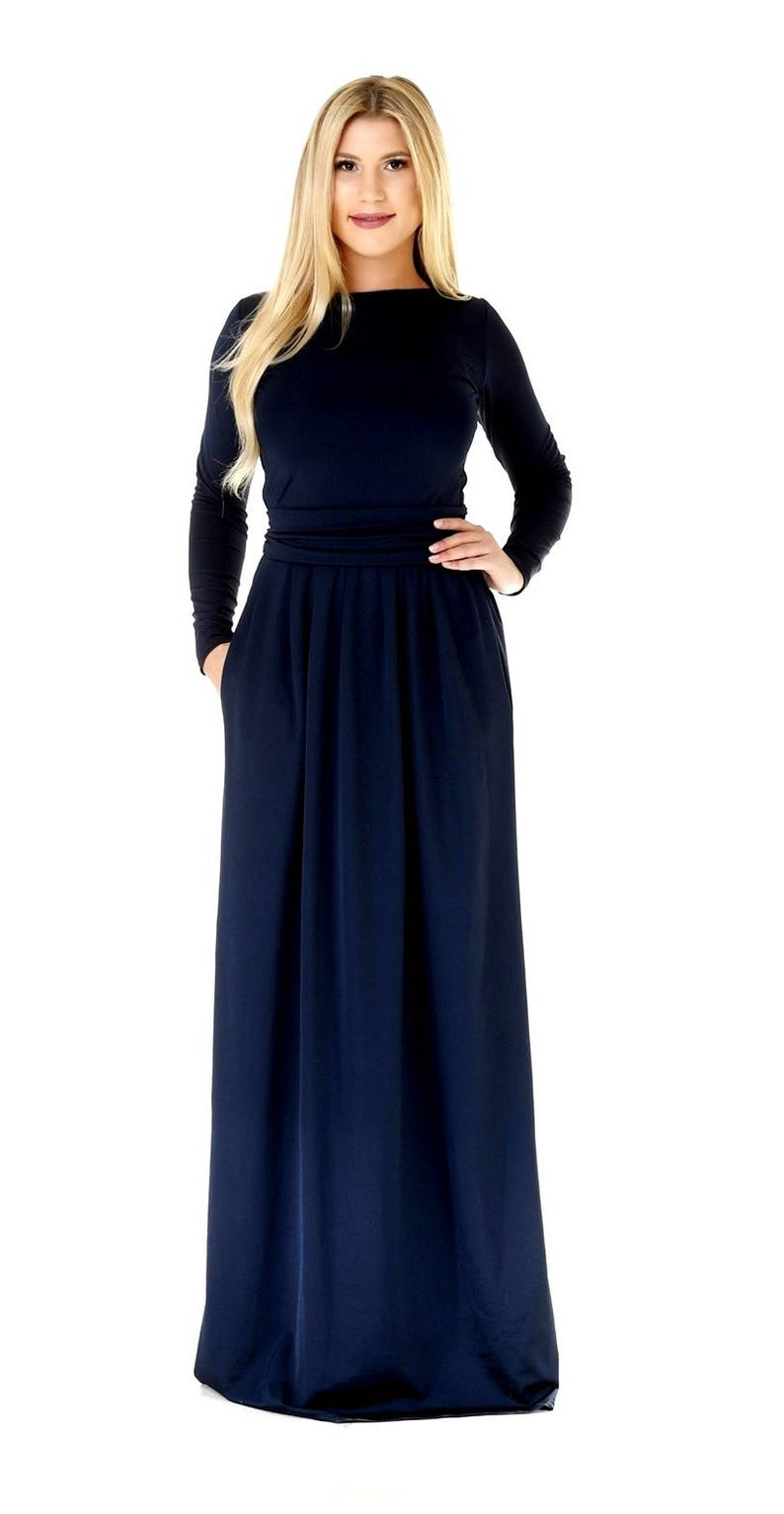 5bf54391dc0 Navy Blue Maxi Dress/ Long Sleeves Dress With Pockets Sash   Etsy