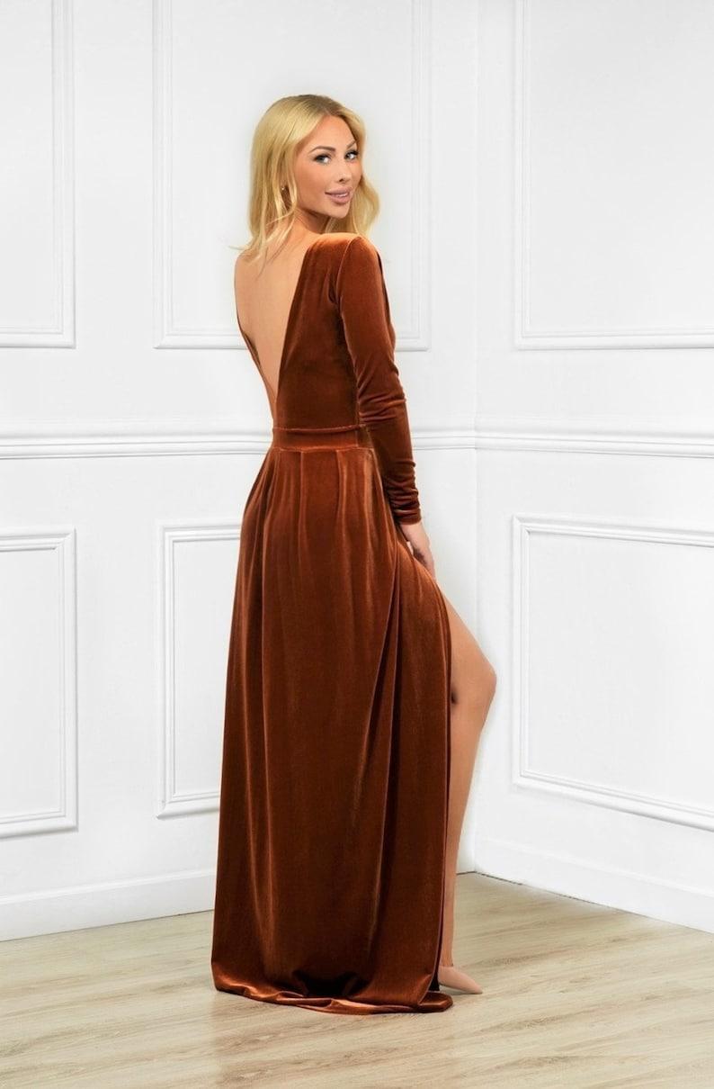 Rusty Orange Velvet Maxi Dress/ Round Neck Deep V Back Long image 0
