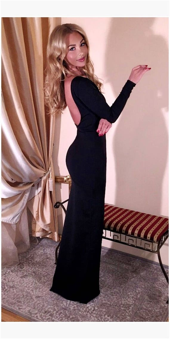 Black Backless Maxi Bodycon Dress Party Evening Fitted Dress Etsy