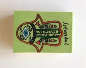 Magnet Notebook, Handmade Magnet, Istanbul Figured Velvet Notebook, Green Sketch Notebook, Istanbul Notebook, Journal, Pocket Notebook