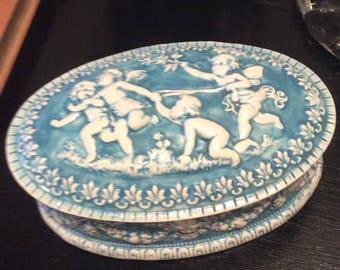 Vintage Erickson Porcelain Wedgewood Blue and White Cherubs  Angels Trinket Box Bridal Shower Wedding Gift  Shabby Chic Vanity Keepsake