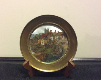 Vintage Brass Foil Lithograph, Plate, Wall Hanging, Made in England
