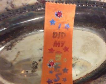 Vintage Orange Ribbon Bookmark Olympiad Keepsake Souvenir