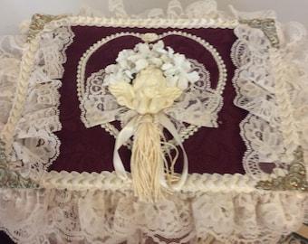 Vintage Burgundy and Lace Covered Keepsake Basket Shabby Chic Basket Wedding Card Holder Bridal Keepsake Trinket Jewelry Box Valentines