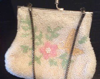 Vintage Lovely Victorian White Beaded Purse  Shabby Chic Change Purse with Flowers Party Evening Bag Prom Wedding