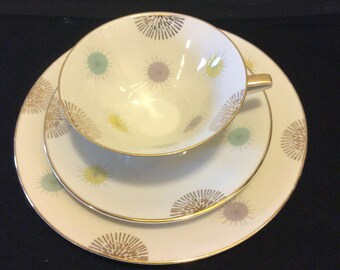 Vintage Trio Set Mid-Modern Bavaria Atomic Galaxy Tea Cup with Saucer and  Matching Salad Plate - Collectible Porcelain Keepsake
