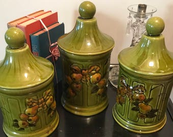 Vintage Los Angeles California Pottery Olive Green Ceramic  3 Piece Set - Pears Clusters  Shabby Chic  Rustic Country Decor