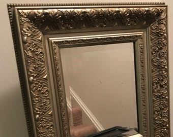 Vintage Silver Ornate Baroque Style Wooden Mirror Hollywood Regency Shabby Chic Wall Mirror