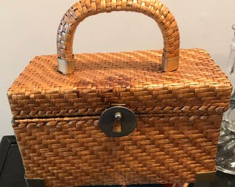 Vintage Koret Brown Wicker Box Style Handbag - Made in Italy Shabby Chic Glamour Brass Accents Retro Footed Purse