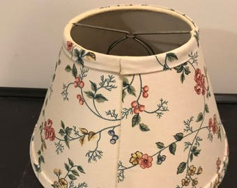 Vintage Cream Colored Floral Print Flowers Fabric Bell Shape Clip On Style Lampshade Shabby Chic  Boho Style Nursery  Boudoir