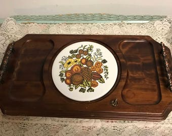 Vintage Gourmet Gifts by Lucas of New York-  Footed Wooden Cheese Platter Shabby Chic Tray with Bronze Tone Metal Handles Ceramic Tiles