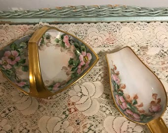 "Vintage Porcelain Basket Signed by Artist ""SWP"" with Gold Trim Handle Serving Dish  and Matching  Porcelain Serving  Spoon"