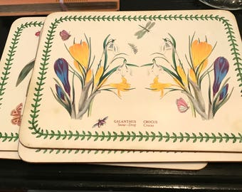 Vintage Set of 6 Placemats -  Portmeirion Designer Cork Backing Table Placemats Susan Williams Ellis New Zealand