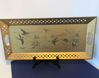 Large Vintage Nashco Handpainted Tole Tray French Country Lovely Scene of Flying Ducks Shabby Vanity Decor Hollywood Regency Gold Metal Tray