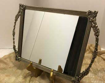Large Vintage Brass Footed Mirror Tray with Side Handles Shabby Chic Vanity Tray Boudoir Decor