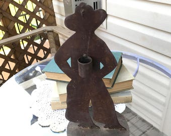 Vintage Rusty Metal Western Cowboy Candle Rustic Tabletop Decor Wall Hanging Country Chic