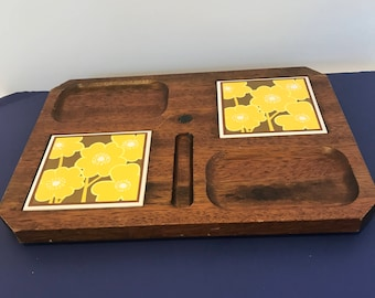 Vintage Footed Wooden Cheese Platter Snack Tray Shabby Chic Serving Tray with Yellow Flowers Ceramic Tiles Footed Tray Chippy Wood