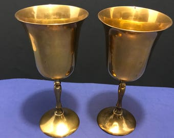 Vintage Pair of Brass Wine Cups, Water Goblet, Drinking Cups Made in India
