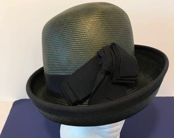 Vintage Sandy Braeburn Ladies Bowler Hat Dark Gray with Black Ribbon Paris New York
