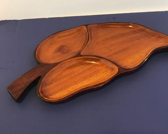 Large Vintage Mahogany Wood Leaf Tray Made in  Haiti Shabby Vanity Decor, Jewelry Holder - 3 Sectional Serving Tray Wood Platter Snack Tray