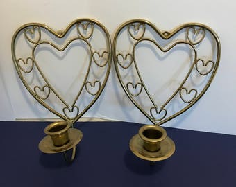 Vintage Pair Homco Home Interior Brass  Hearts Wall Scounces Candleholders Wall Decor Shabby Chic