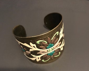 Vintage Copper Cuff Bracelet Bangle Bracelet with Enamel Handpainted Flowers Shabby Chic Jewelry Birthday Gift Keepsake
