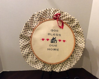 On Sale! Vintage Handmade Needlepoint Embroidery Hoop, God Bless Our Home Design, Wall Hanging Art