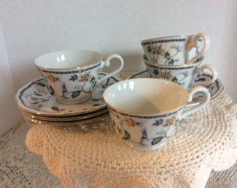 Narumi Bone China, Vintage Tea Cup and Saucer, Set of 4, Tea Party, Bridal Party, Wedding Decor, Home Decor